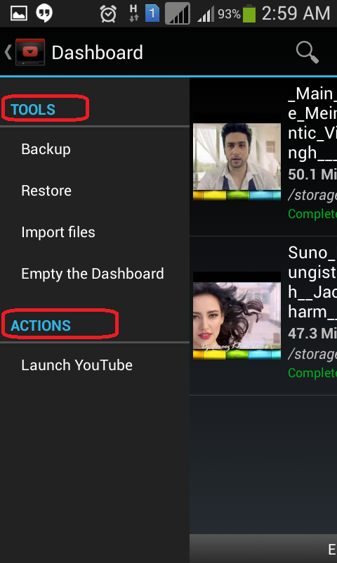 Tools-and-action-available-export-import-empty-dashboard-launch-youtube