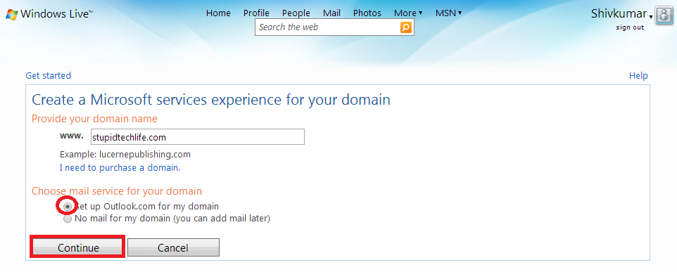choose-mail-service-for-your-domain-using-exisiting-outlook-account