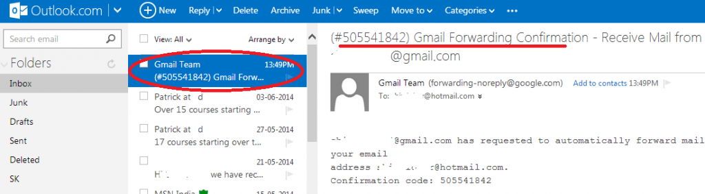 confirmation-code-or-verification-link-in-outlook-from-gmail