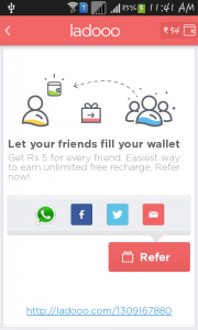 refer-ladoo-app-to-your-friend-using-whatsapp-facebook-twitter-gmail-to-earn-free-recharge-for-mobile-and-DTH