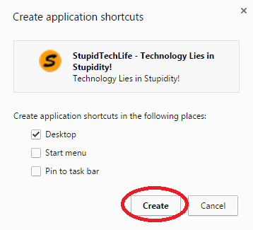 how to create shortcut for website on google chrome