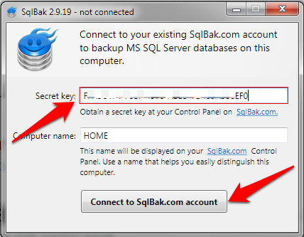 enter-secret-key-to-connect-sqlback-application